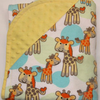 Giraffe Flannel Yellow Minky Baby Blanket, Toddler Blanket, Bed Time, Nap Time, Play Time, Cuddle Time, Gender Neutral Baby Shower