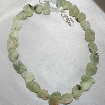 Chunky Prehnite Raw Stone Statement Necklace, Bold Rough Hammered Gemstone Jewelry, Semi-Precious Green Prehnite & Crystal Rough Cut Jewelry
