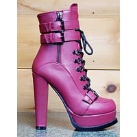 """Luichiny Storm Chase 5"""" Block Heel Ankle Boot Lace Up Platform Burgundy Wine"""