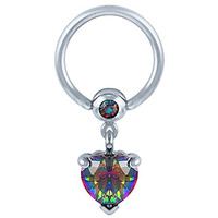Mystical Sparkle Heart Dangle Captive Nipple Ring 1/2""