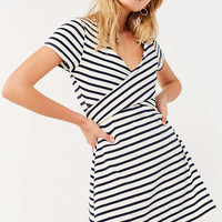 UO Wrap Front Cap Sleeve Mini Dress | Urban Outfitters