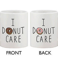 Cute Breakfast Coffee Mug - I Donut Care Funny Ceramic 11oz Coffee Mug Cup