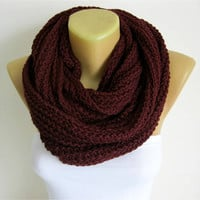 Scarf-Chunky Knit Scarf , crochet infinity scarf, christmas gift- for her -Fashion accessories