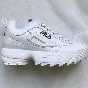 FILA tide brand fashion casual shoes F White