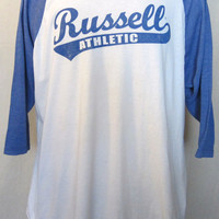 Vintage Amazing 80s RUSSELL ATHLETIC RAGLAN Sports Jersey Style 1/2 Sleeve Extra Large Soft T-Shirt