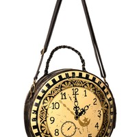 Banned Steampunk Clock Handbag Circular Round Shoulder Bag