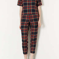 Red and Blue Check Trousers