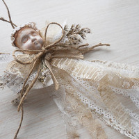 Ready to Ship! One of a Kind Angel Art Doll Christmas Ornament is handmade of clay, lace, twine, jute & german statice.