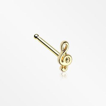 Golden Treble Clef Music Note Nose Stud Ring