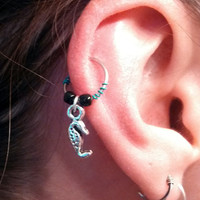 Silver Seahorse Cartilage Hoop Beaded Turquoise Earring Boho Tragus Helix Piercing