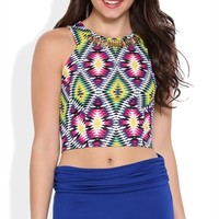 Tribal Print Crop Top with Gold Embellished Neckline