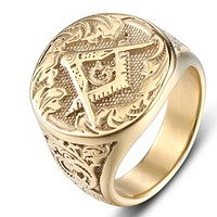 Square Compass G Motif Gold Color Masonic Ring