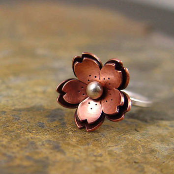 RESERVE for ANDREW  -  Copper Double Cherry blossom Ring Metalsmithing, Sakura Jewelry, Valentines jewelry