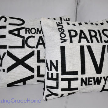SALE 2 Designer Fabric Warwick MOMA  - Paris New York Print Cushion cover Designer Throw pillows modern pillows made in Australia