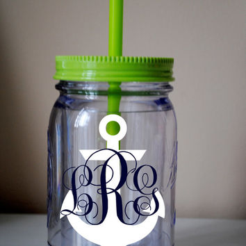Anchor Monogram Mason Jar Cup With Straw / Available In Many Colors