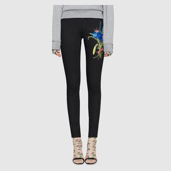 """Gucci"" Women Casual Fashion All-match Flower Embroidery Show Thin Thickened Bodycon Leggings Pencil Pants Trousers"