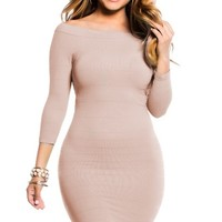 Simple Tan Off The Shoulder Mini Dress