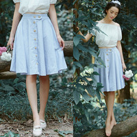 Preppy Style Sailor Striped Print Elastic Waist Button Down Midi Skirt