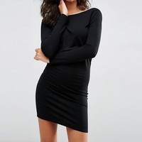 Women Gothic backless knitted Solid black dress Long