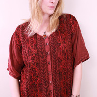 Vintage - 90s - Ethnic - Deep Red - Floral Embroidered - Billwoy - Long - Button Up - Tunic Blouse - Top - Shirt - Hippie - Boho