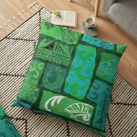 'Tribal Tav Polynesian Organic Patterns' Floor Pillow by sunnthreads