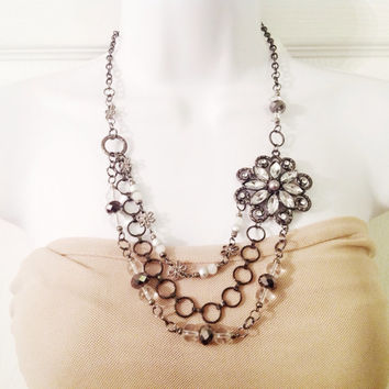 Vintage style silver broach statement necklace bib rhinestone necklace