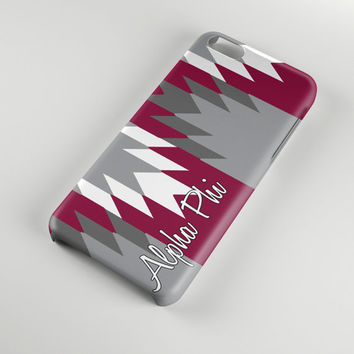 Alpha Phi sorority phone case for Iphone and Samsung, Silver bordeaux Aztec, A Phi big and little sister gift, Alumna or initiation (1455)