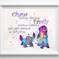 Lilo and Stitch Quote, Lilo and Stitch Print, Ohana Quote, Watercolor, Illustration, Wall Decor, Kid Room, Home Decor, Christmas Gift