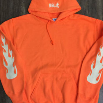 Kylie Jenner Fire Hoodie Orange/The Kylie Pop Up Shop /Starboy XO/I Feel Like Pablo/The Weeknd/Xo/Drake
