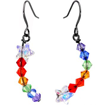 Handcrafted Rainbow Fishhook Earrings Created with Swarovski Crystals