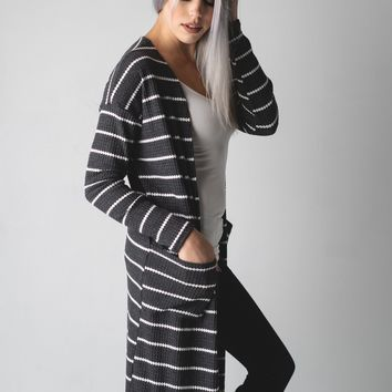 Striped Thermal Pocket Duster Cardigan in Charcoal