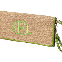 Woven Straw Clutch -- Green Trim