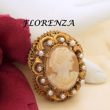 Florenza Cameo Brooch Pearl Pendant Pin
