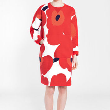 Apparel: Marimekko Kross sweatshirt dress in white, red, dark violet | Marimekko Store