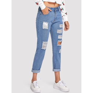 Not Here To Play Roll Up Ripped Jeans - Blue