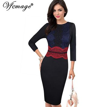 Vfemage Womens Elegant Vintage Crochet Lace Slim Tunic Charming Casual Work Party Pencil Sheath Vestidos Bodycon Dress 4305