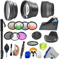 "67MM Professional Lens Accessory Kit for DSLR Cameras - Includes: 2.2X Telephoto and 0.43x Wide Angle High Definition Lenses + 67"" Monopod + Flash Diffuser (Set of 3) + Filter Kit (Ultraviolet, Polarizer, Fluorescent) + Graduated Orange, Green, Grey, Coffe"