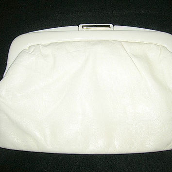 Vintage Pierre Charbonnier Clutch Purse Handbag Off White Cream Made In France - Mad Men Era
