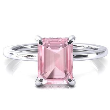 Rosy Emerald Pink Sapphire 4 Claw Prong Single Rail Micropave Engagement Ring