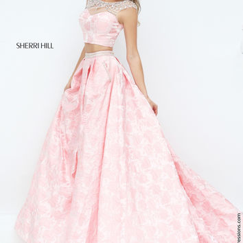 Sherri Hill 50197 Beaded Crop Top Floor Length Ball Gown Prom Dress – Off White by Bridal Expressions