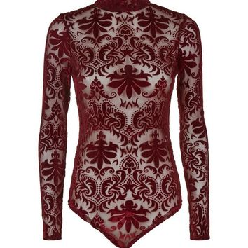 Burgundy Flocked Mesh Bodysuit | New Look