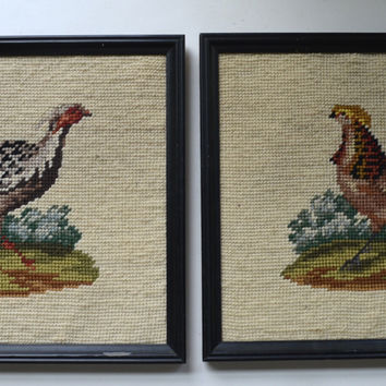 Pair of Framed Vintage Textiles Antique Needlepoint Pheasants / Game Birds
