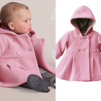 ew Baby Toddler Girls Fall Winter Horn Button Hooded Baby Girl Winter Warm Wool Blend Pea Coat Snowsuit Jacket Outerwear Clothes Alternative Measures