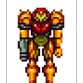 Instant Download, Super Metroid, 8 Bit Metroid, 8 bit Samus Aran, Cross Stitch Pattern, Gaming Fan Art
