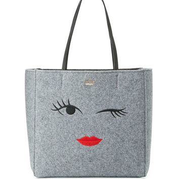 kate spade new york post drive wink hallie tote bag, gray