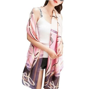 180X90cm Printing Faux Silk Scarves for Women Spring Pink Flower Poncho Floral Bandana Female Summer Beach Silk Shawl Poncho