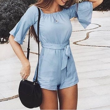 Embroidery Elegant Romper Transparent Mesh Sleeve Playsuit