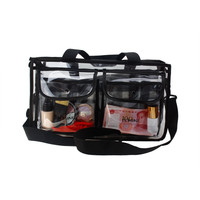 ISMINE Black Transparent high-capacity portable Big Cosmetic bag 2 Layer travel bag for toiletry kits with Strapes