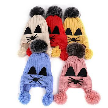 Toddler Kids Winter Warm Hats Boys Girls Baby Crochet Knitted Beanie Hat Cute Cat Hats Unisex Baby Plush Pom Hats for 2-11Years