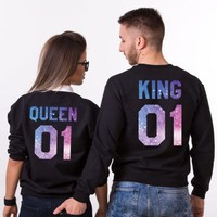 King 01 And Queen 01 Couple Matching Hoodies Galaxy Print Jumper Sweatshirts